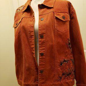 Amazing Chico's statement rust denim jacket - sz 3